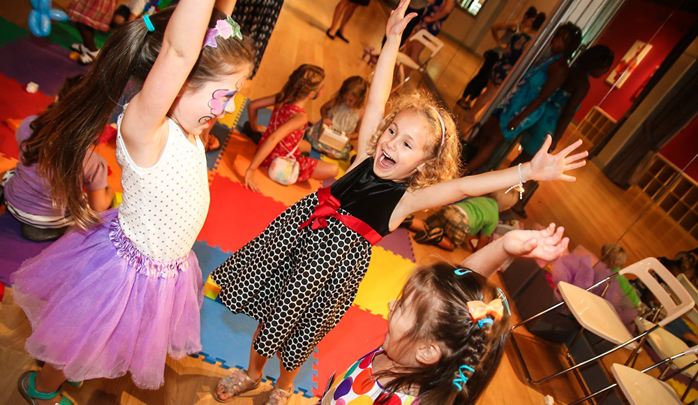 Dance and fun during kids birthday parties at the Salsa With Silvia dance studio