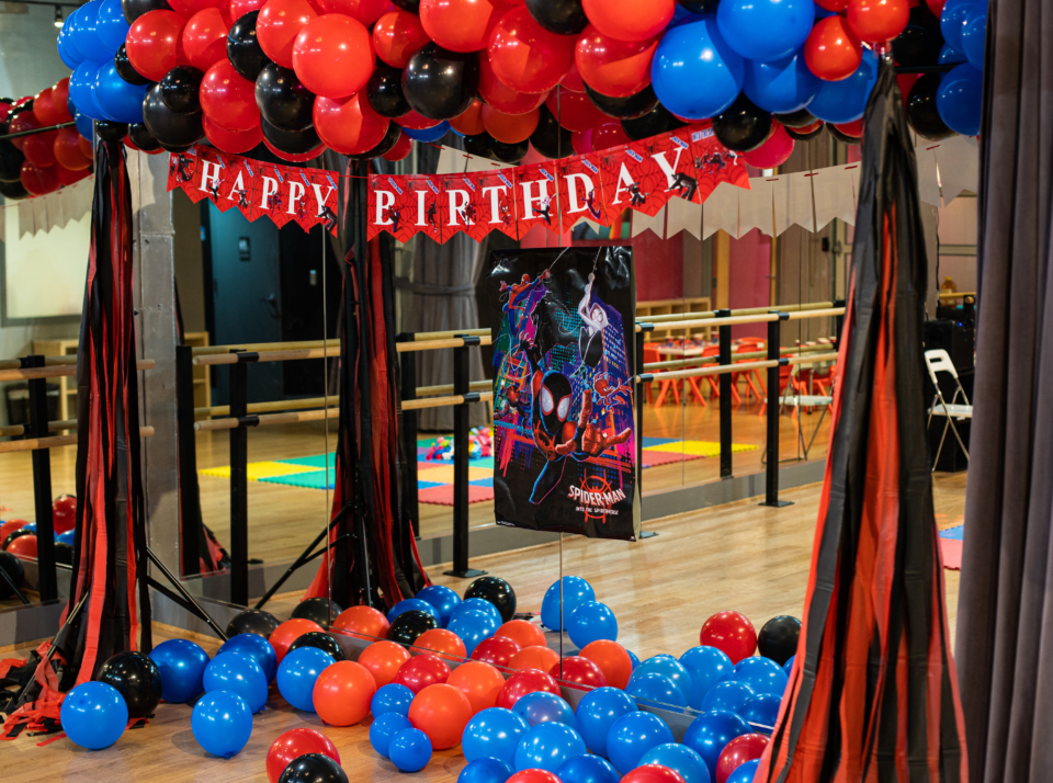 Superhero (Spiderman) Birthday Party at the Salsa With Silvia dance studio in DC and Bethesda.