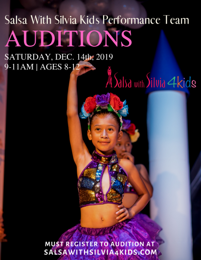 The Salsa With Silvia studio is auditioning kids for its dance performance team. This is a scholarship program. If qualified, trainng free of charge.